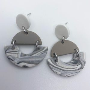 Edgy Handcrafted Marble Design Clay Earrings
